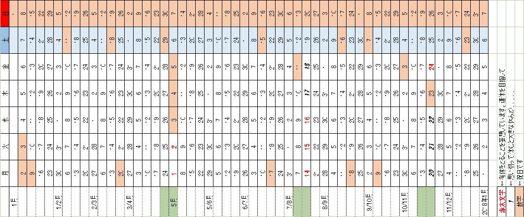 妄想カレンダー,2017